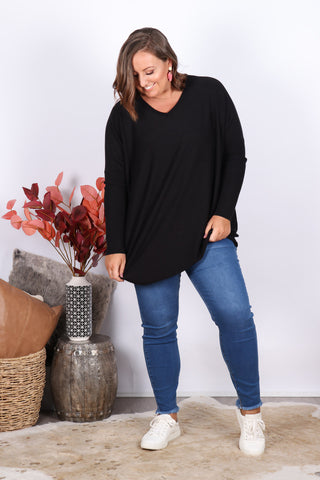Ella Knit Tunic in Black