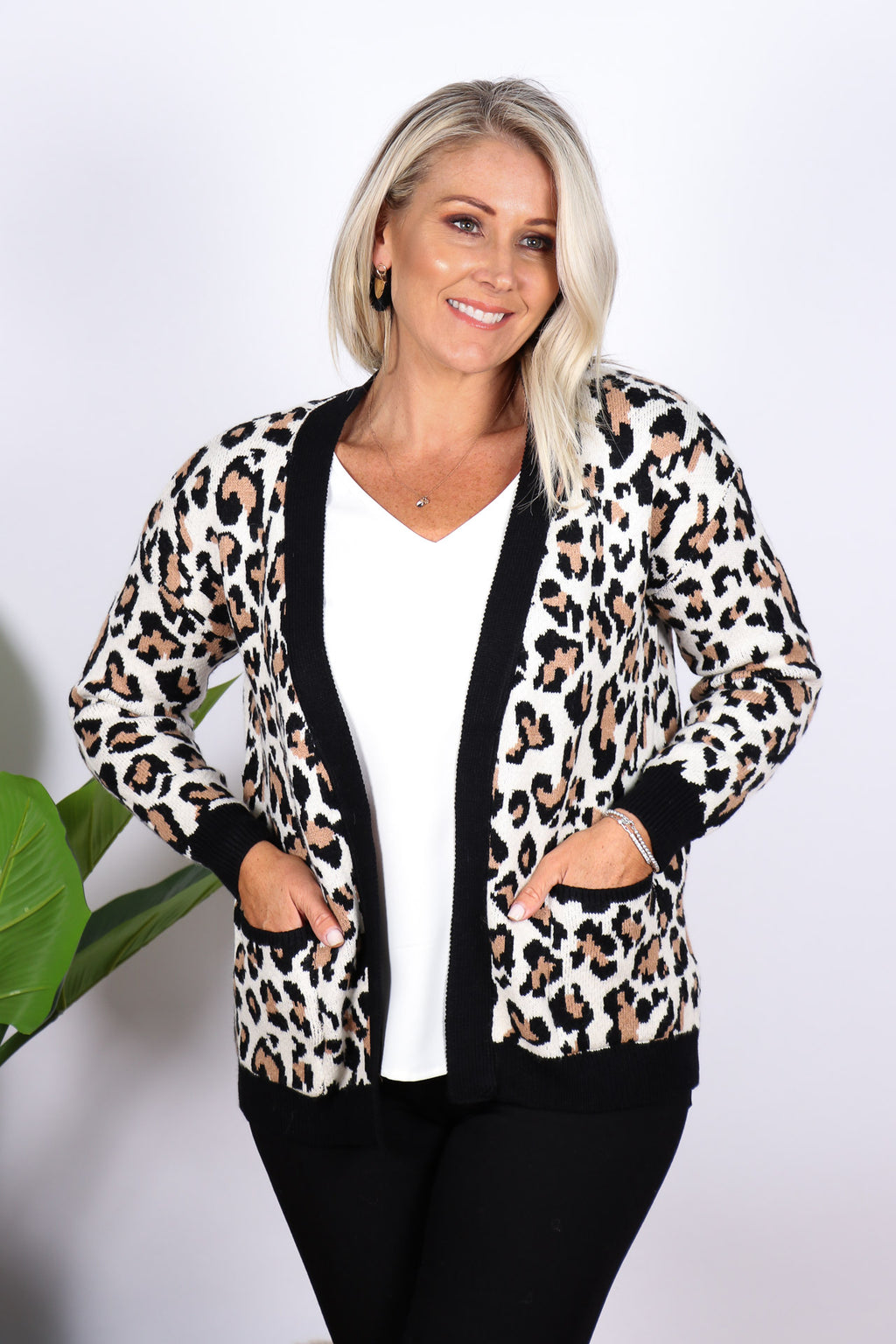 Ellis Animal Cardi in Cream