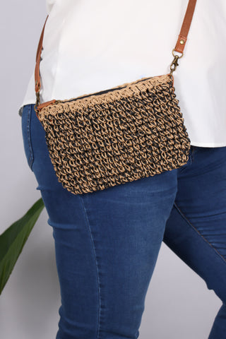 Poppy Sling Bag in Black/Beige
