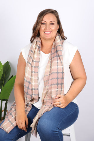 Barclay Scarf/Wrap in Pink/Grey