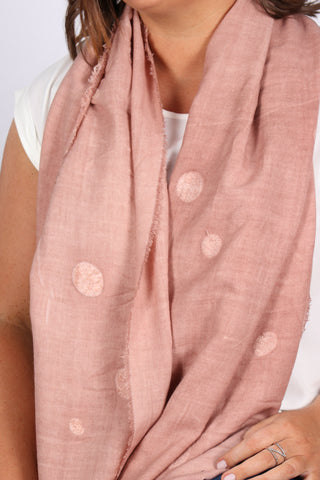 Willow Dot Scarf in Dusty Pink