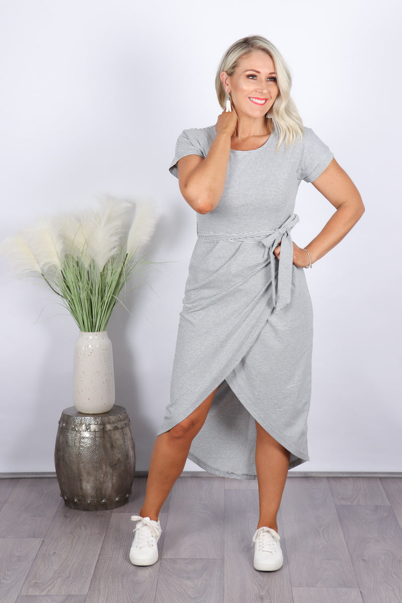 Melissa Midi Dress in Grey Stripe