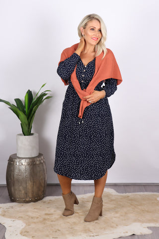 Bridie Dress in Navy