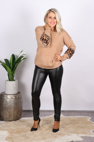 Eclipse Leather Look Pants in Black