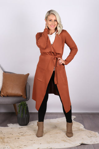 Riverdale Waterfall Cardi in Rust