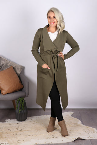 Riverdale Waterfall Cardi in Khaki