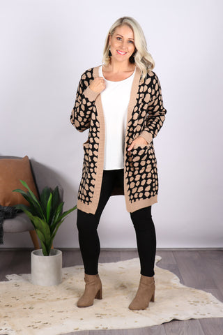 Bedford Cardi in Tan/Black