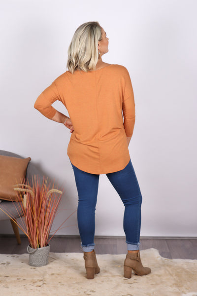 Milan 3/4 Sleeve Top in Spice Marle