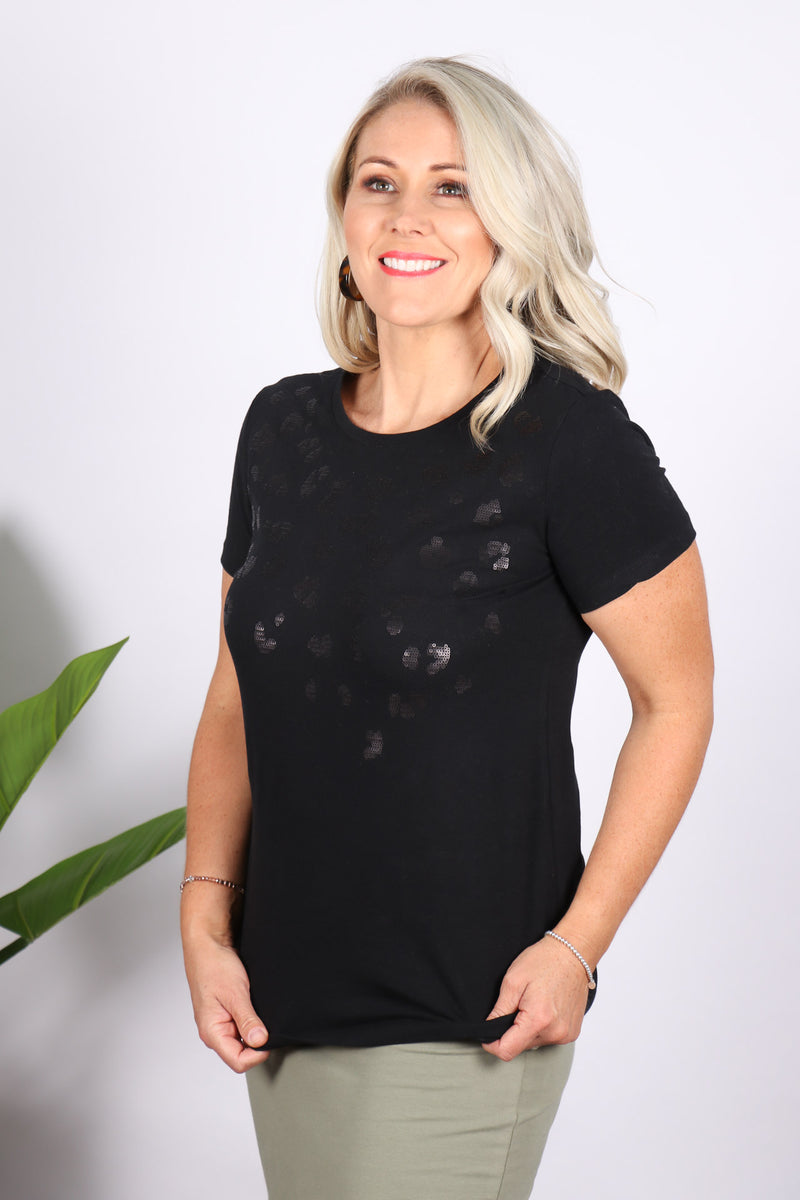 Sequin Cara Tee in Black