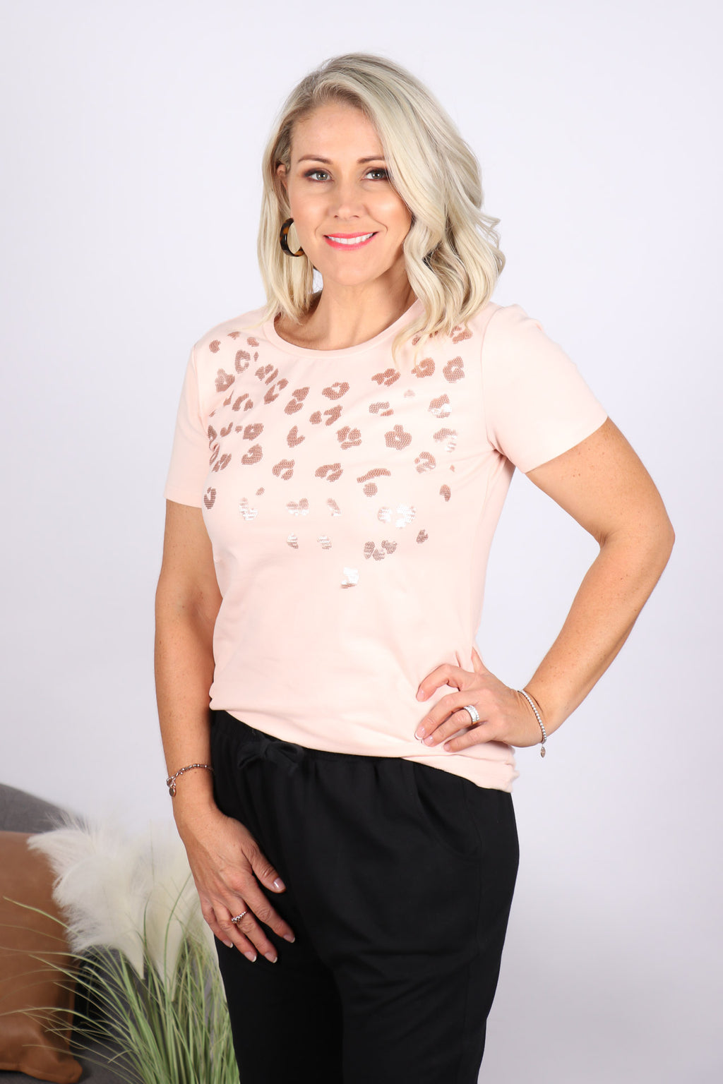 Sequin Cara Tee in Blush
