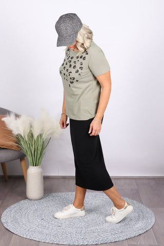 Sequin Cara Tee in Khaki