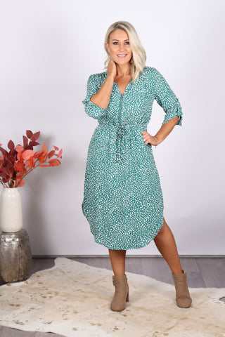 Fairway Midi Dress in Jade Green
