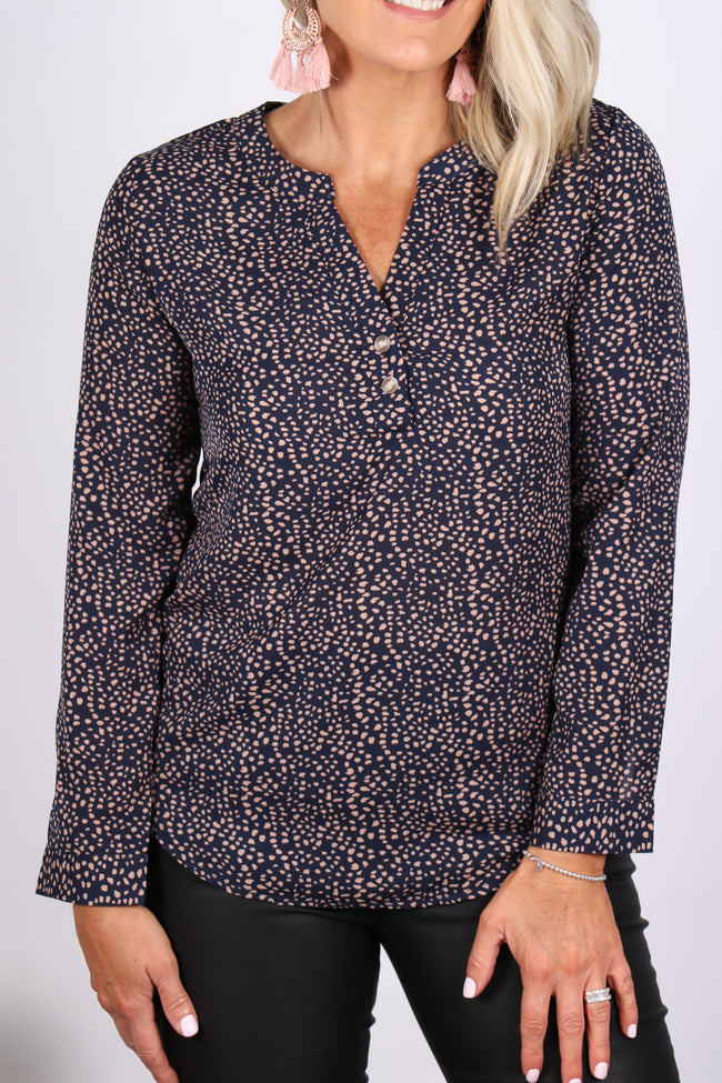 Jenna Blouse in Navy