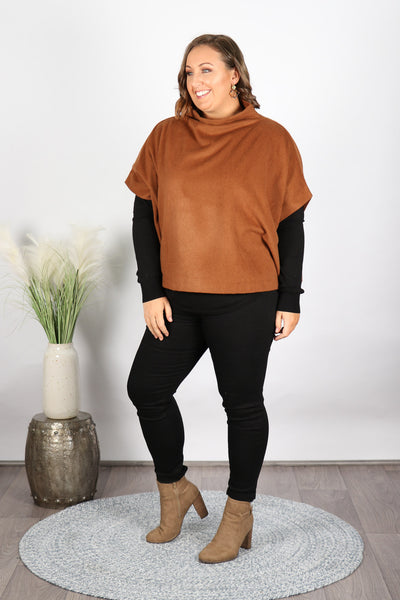 Patina Poncho in Cognac