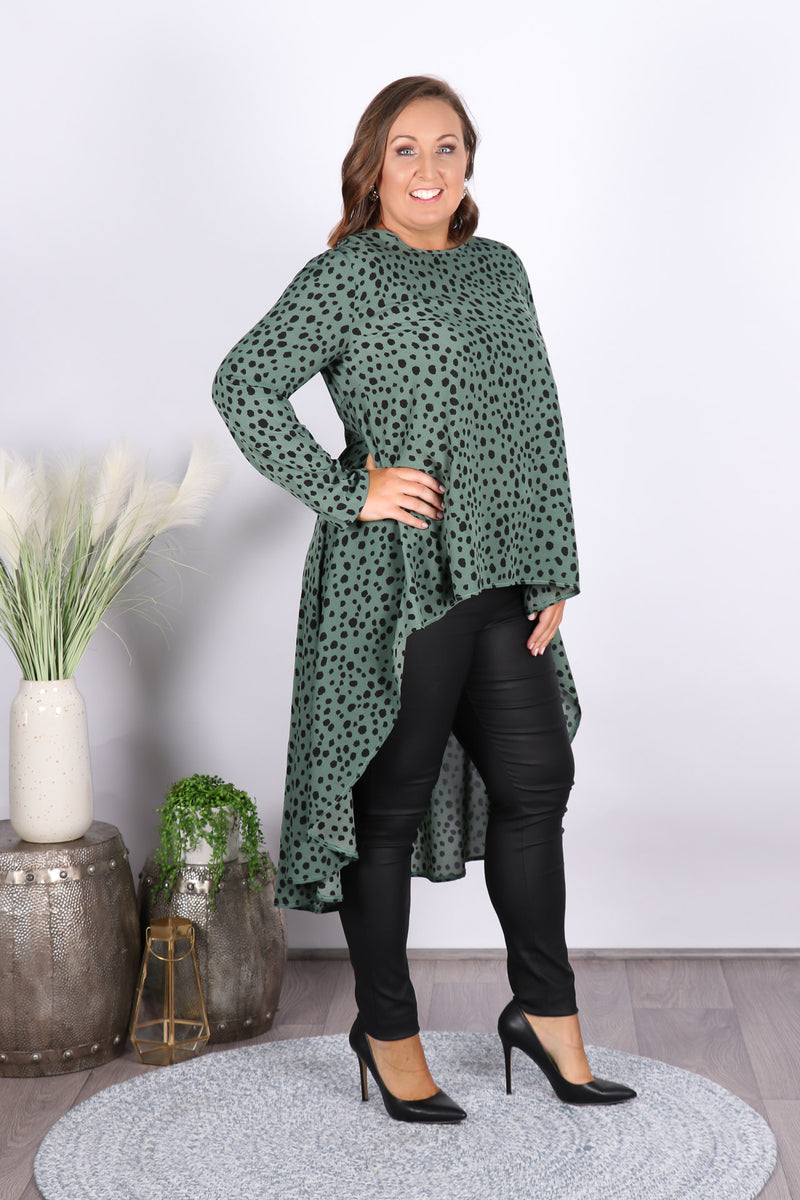 Magnify Hi-Lo Top in Green
