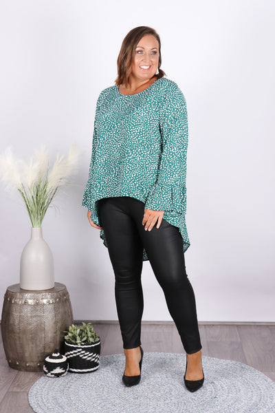 Shanelle Hi-Lo Top in Jade Green