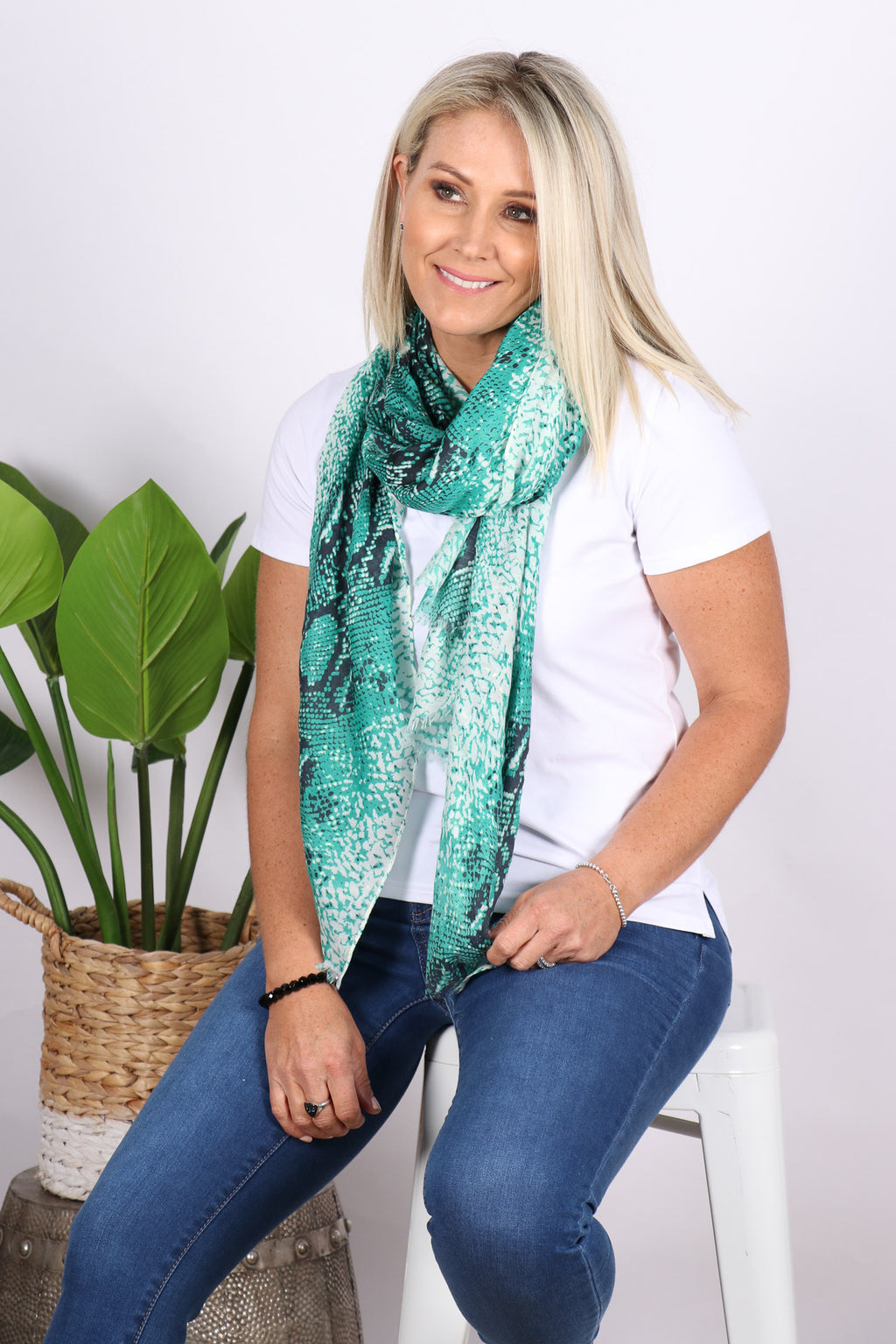 Inspire Scarf in Green Snake