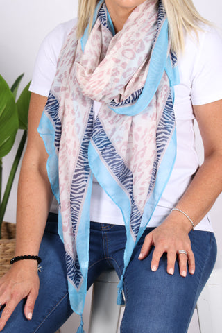 Sasha Animal Scarf in Pink/Blue