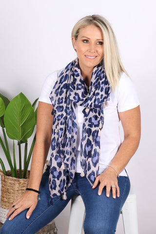 Swift Leopard Scarf in Blue