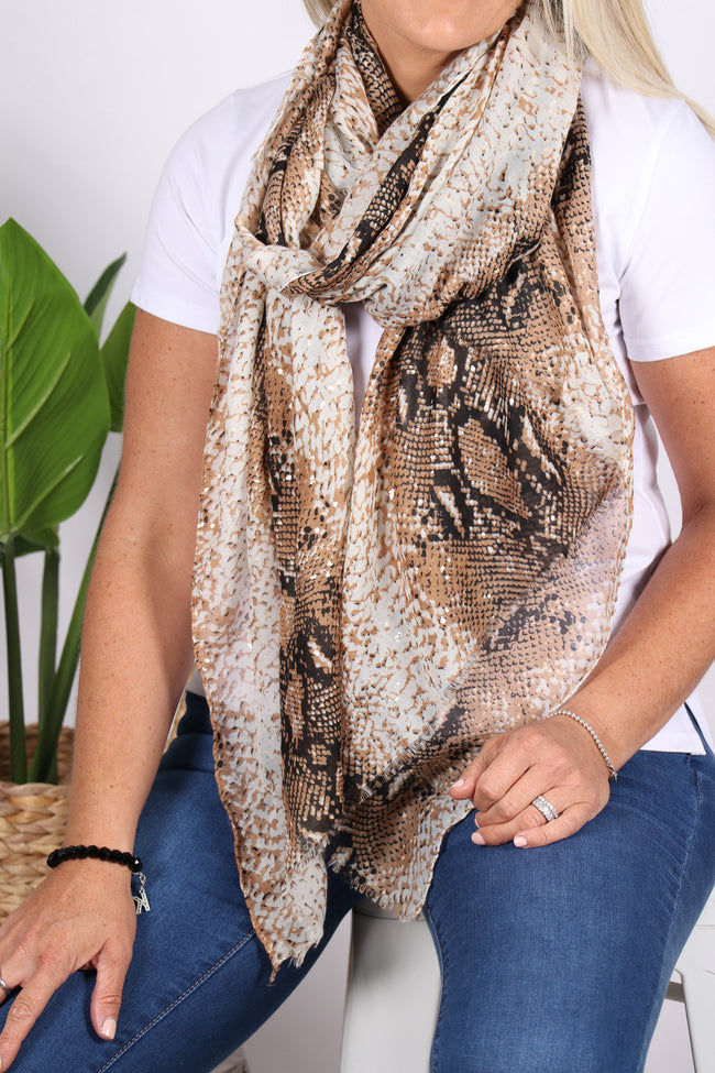 Inspire Scarf in Tan Snake
