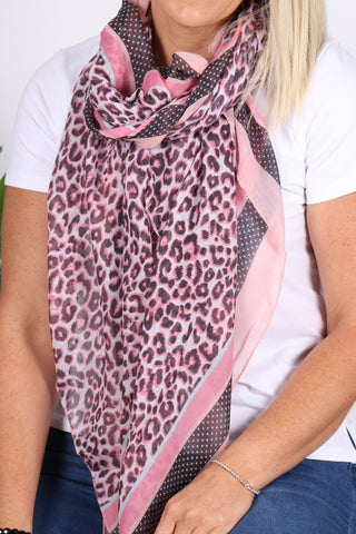 Whimsy Scarf in Pink Leopard