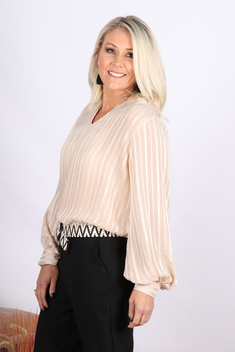 Edithvale Blouse in Beige