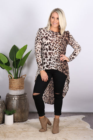 Cove Long Sleeve Top in Animal
