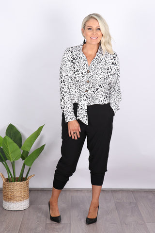 Toorak Tie Top in White Leopard