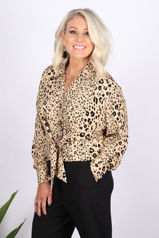Toorak Tie Top in Tan Leopard