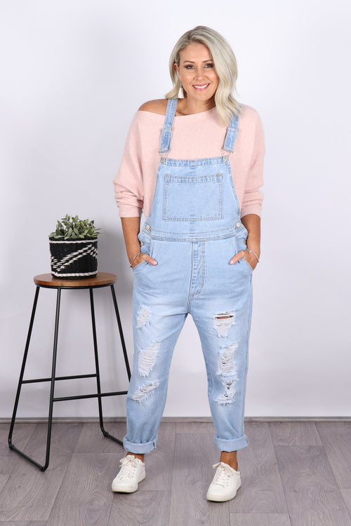 Windsor Denim Overalls in Light Ripped