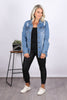Brookfield Long Denim Jacket in Mid Blue