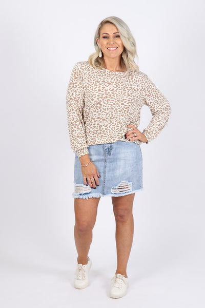 Down To Earth Top in Beige