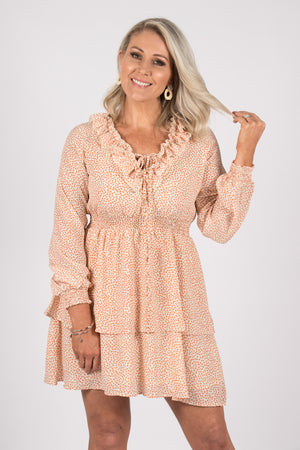 Coburg Dress in Cream/Rust