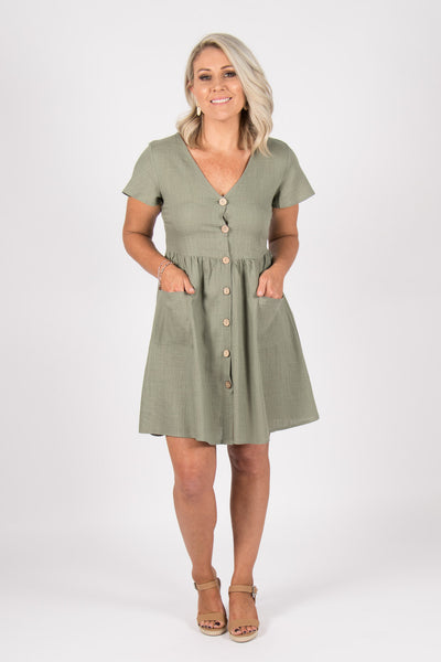 Kokoda Dress in Khaki