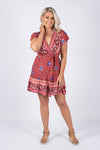 Kirby Wrap Dress in Crimson