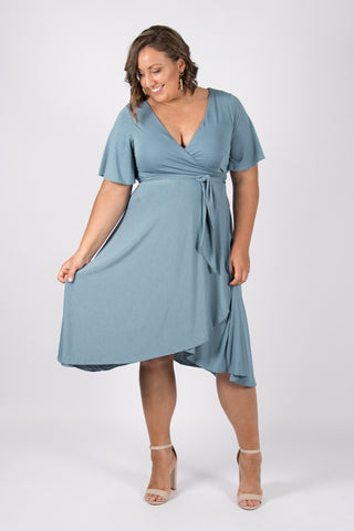 Lyndhurst Wrap Dress in Steel Blue