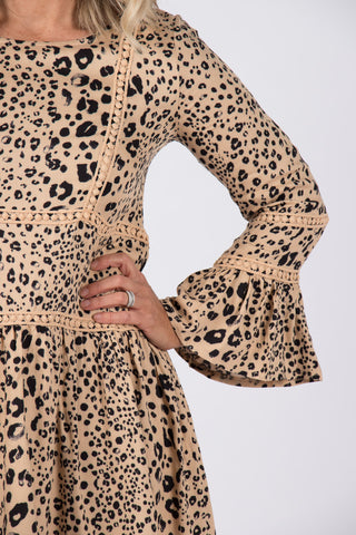 Alley Dress in Tan Leopard