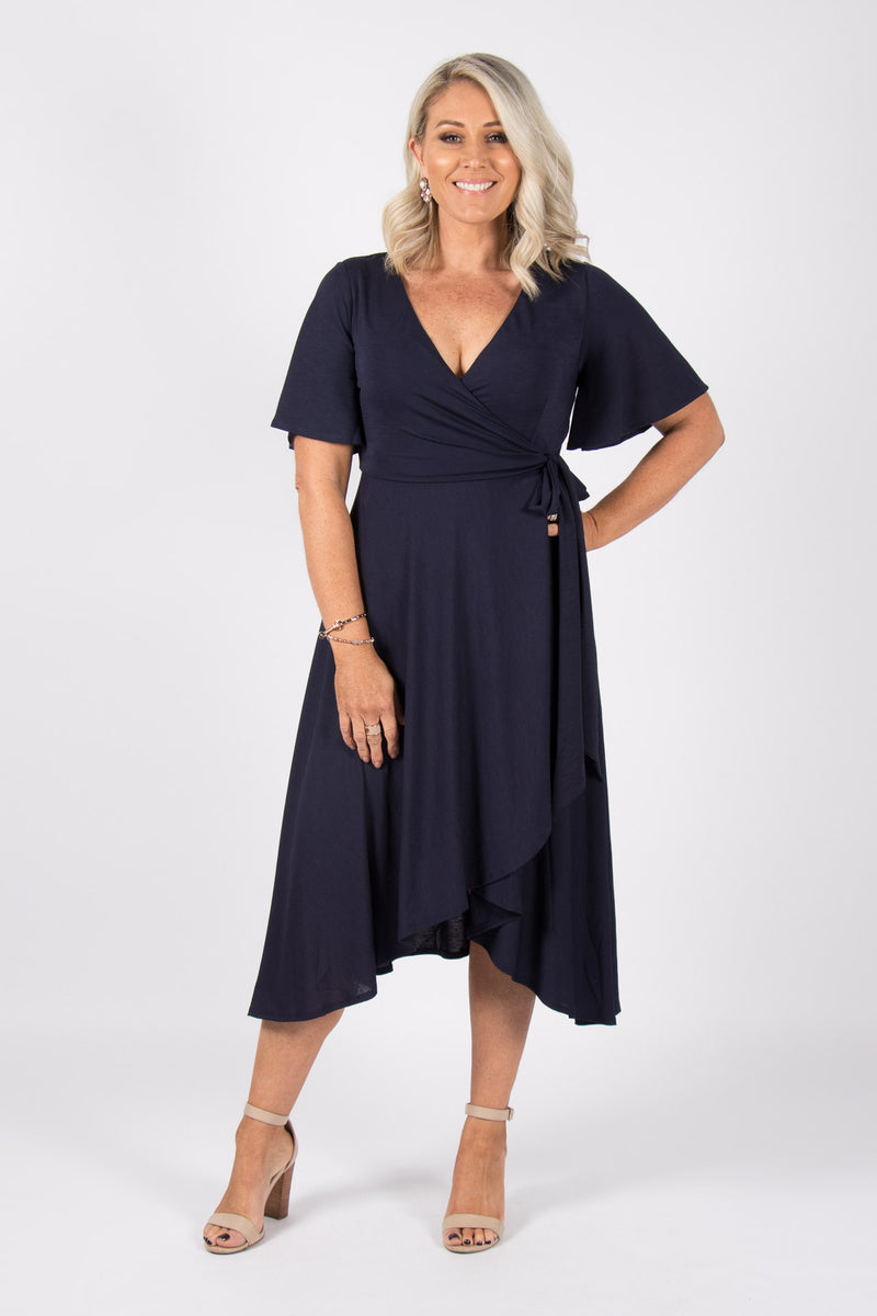 Lyndhurst Wrap Dress in Navy