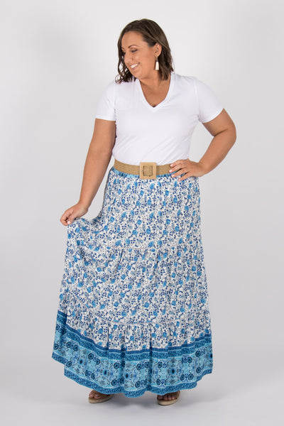 Arizona Maxi Skirt in Blue