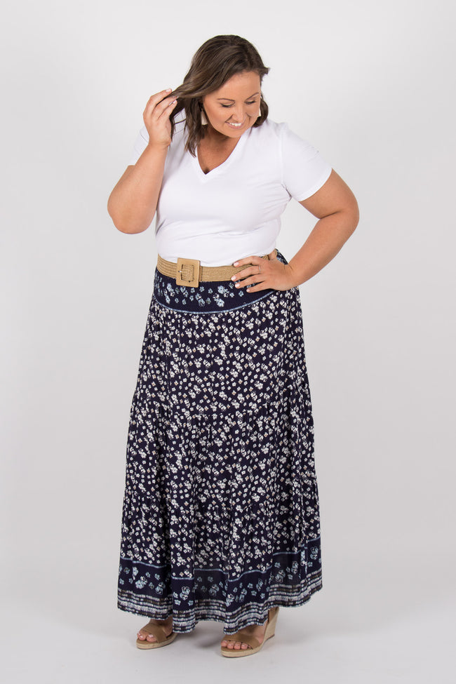 Newman Maxi Skirt in Navy