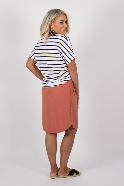 Katie Knot Tee in White/Black Stripe