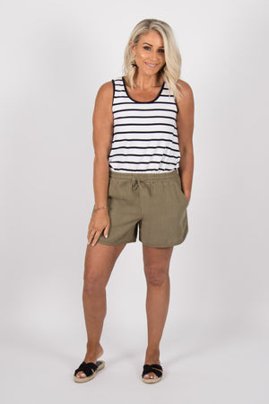 Zoe Tank in White/Black Stripe