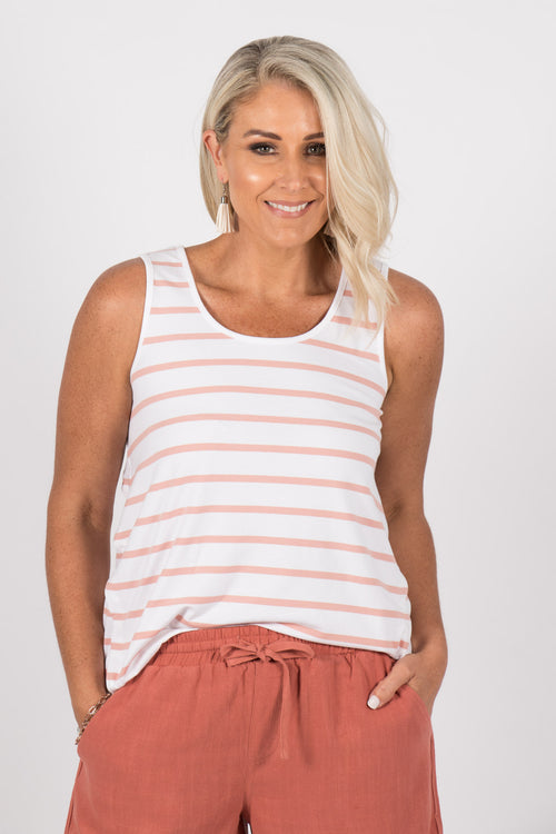 Zoe Tank in White/Blush Stripe
