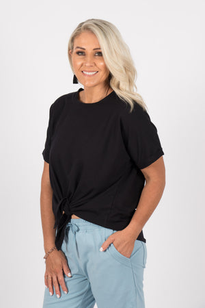 Katie Knot Tee in Black