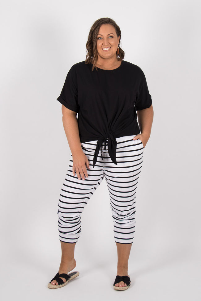 Miley Pant in White/ Black Stripe