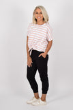 Katie Knot Tee in White/Blush Stripe
