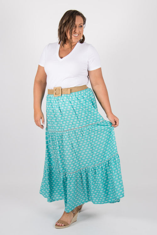 Arizona Maxi Skirt in Teal