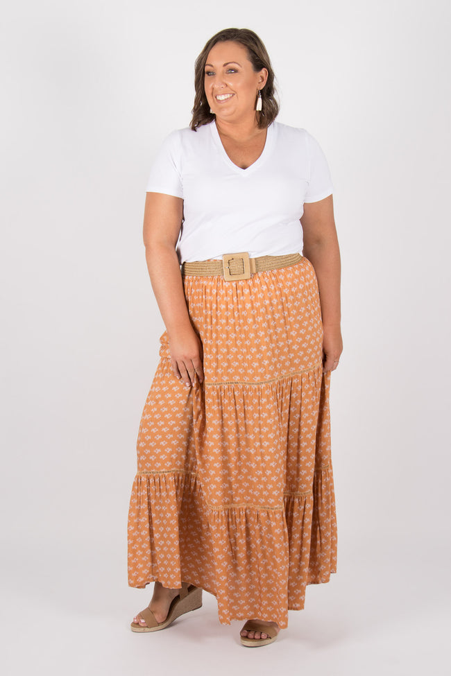Arizona Maxi Skirt in Terracotta