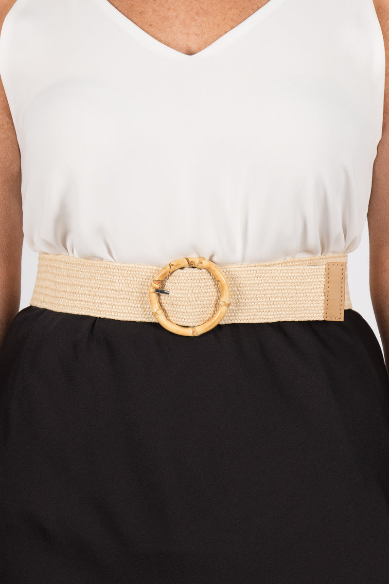 Vanessa Stretch Belt in Cream/Circle