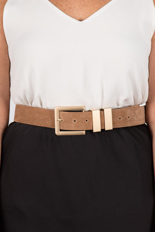 Tan Belt with Gold Buckle